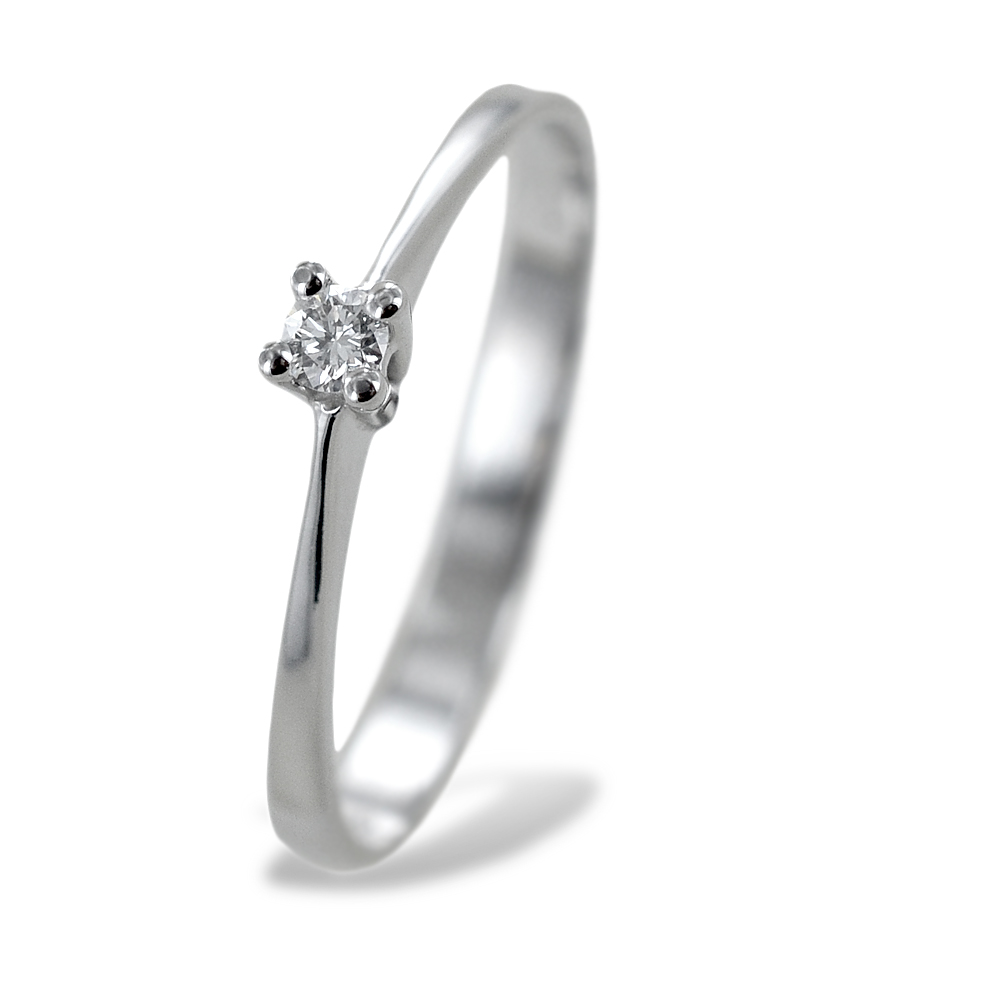 Anello solitario piccolo con diamante montatura dritta