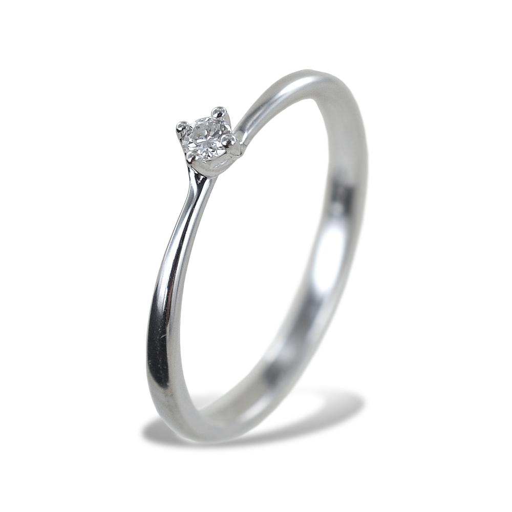 Anello solitario piccolo con diamante montatura Valentine 0.06 carati