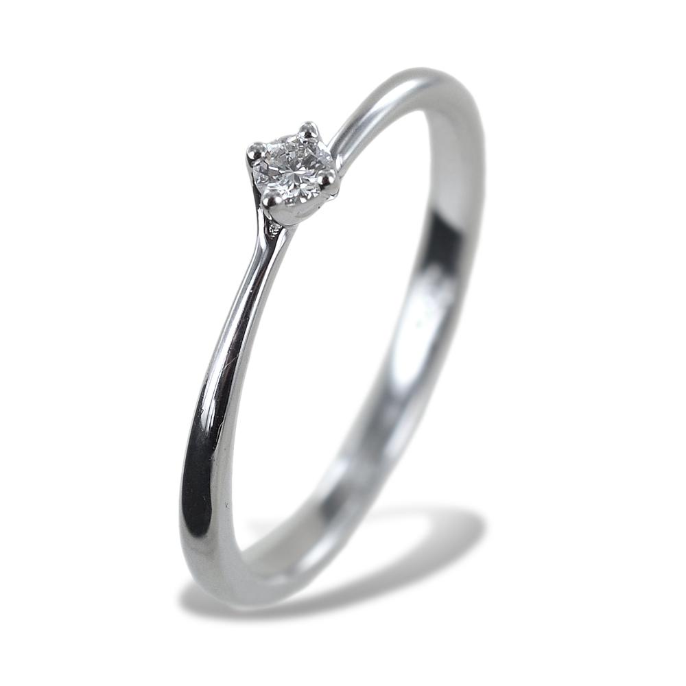Anello solitario piccolo con diamante montatura Valentine 0.07 carati