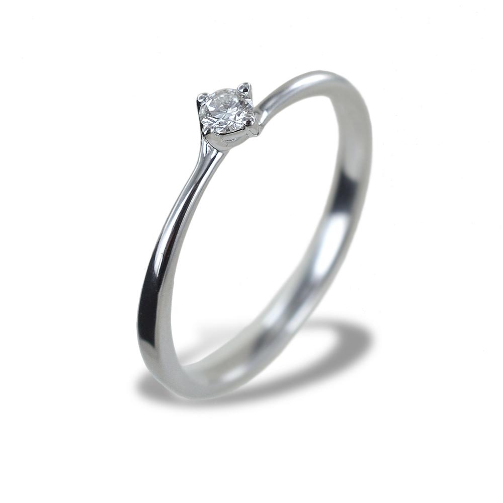 Anello solitario piccolo con diamante montatura Valentine 0.09 carati