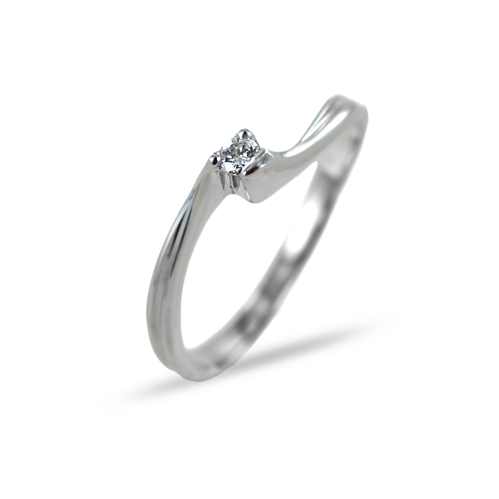 Anello solitario piccolo con diamante montatura Valentine 0.04 carati