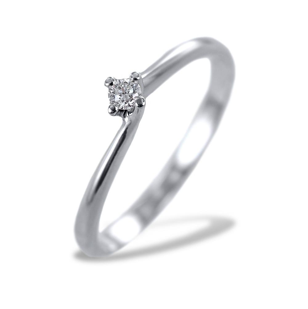 Anello solitario piccolo con diamante montatura Valentine 0.05 carati