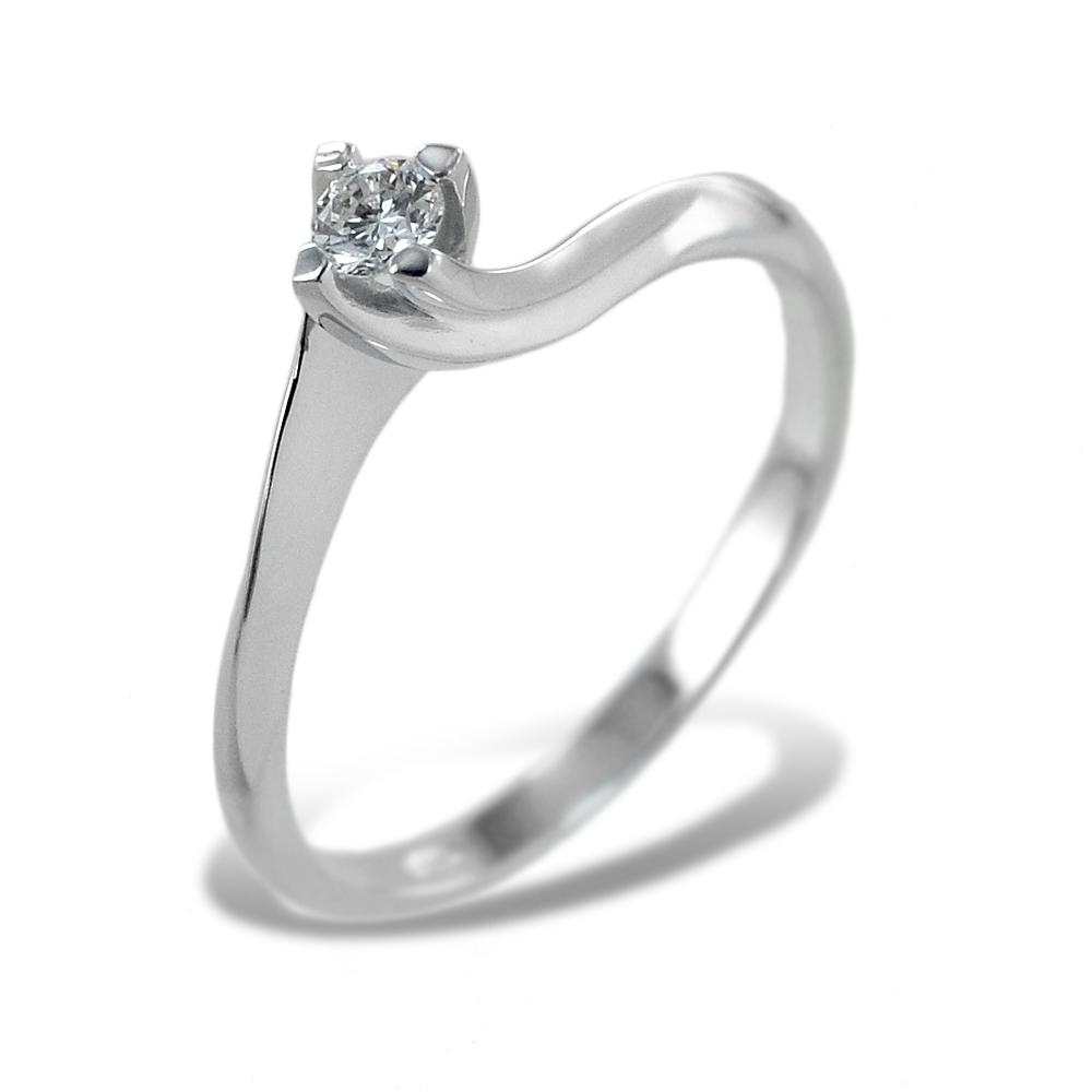 Anello solitario piccolo con diamante montatura Valentine 0.11 carati