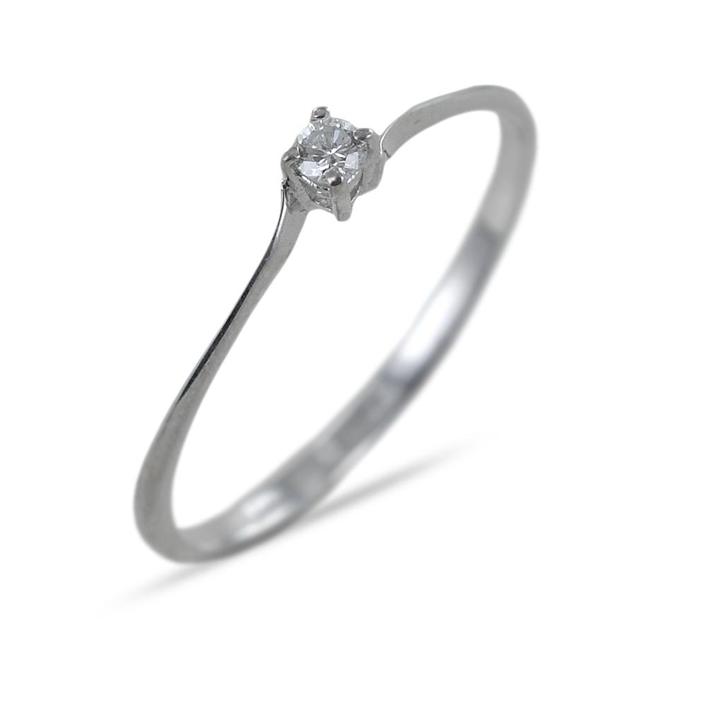 Anello Solitario piccolo in oro con diamante 0.05 G