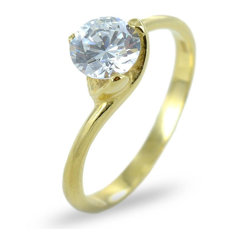 14b0ef0f69b413 Anello solitario Valentino con zircone in oro giallo | Gioielloro.it ...
