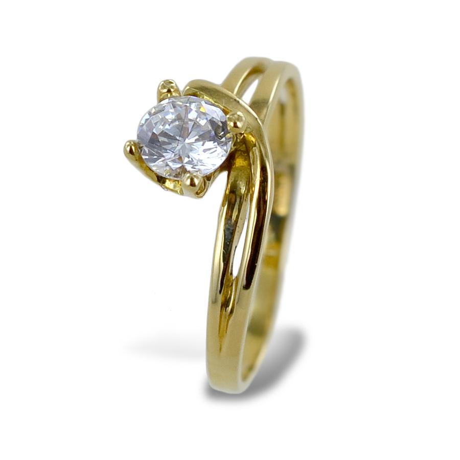 Anello solitario Valentino con zircone in oro giallo