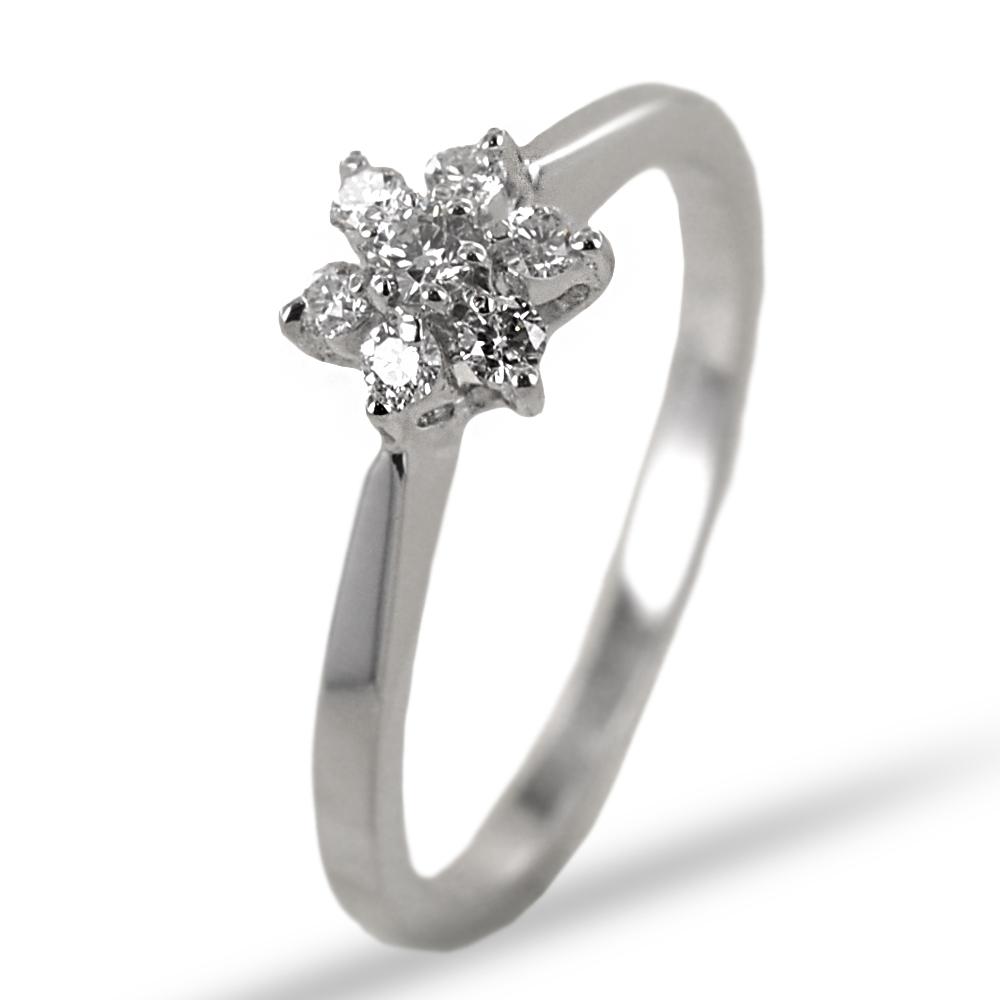 Anello Stella in oro con diamanti  0.17 G