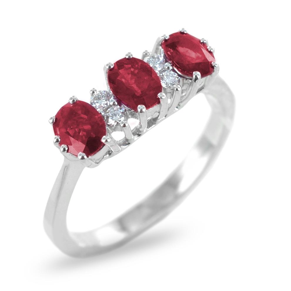 Anello Trilogy di Rubini con diamanti