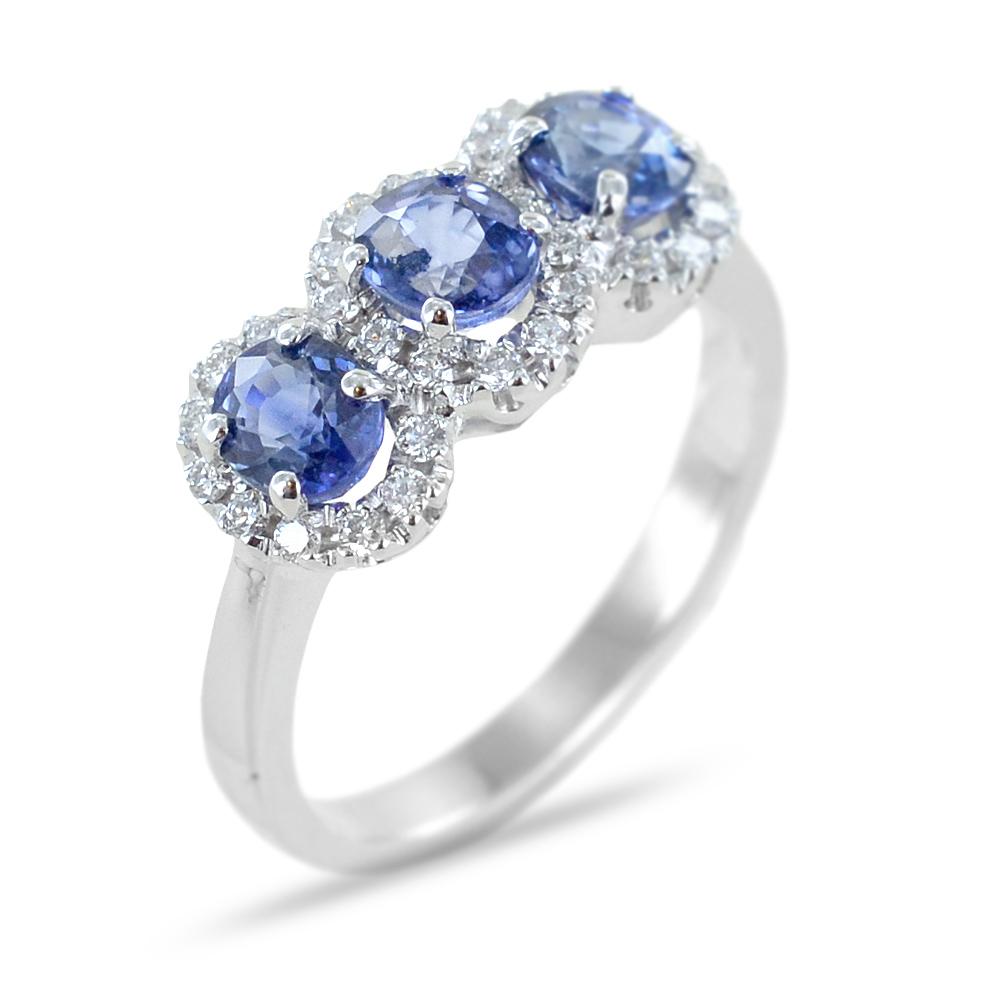 Anello Trilogy di Zaffiri con contorno di Diamanti Fantasia