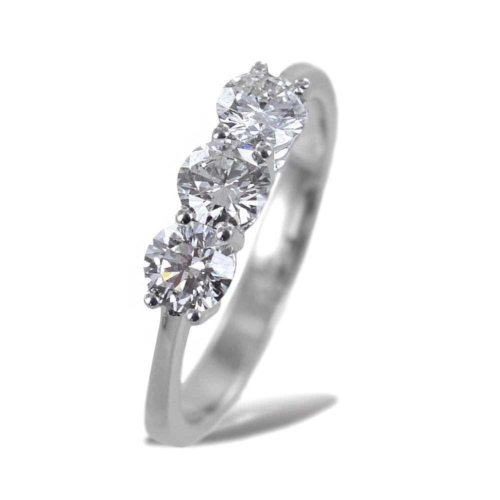 Anello Trilogy grande con diamanti 0.90 ct certificato IGI EX EX EX