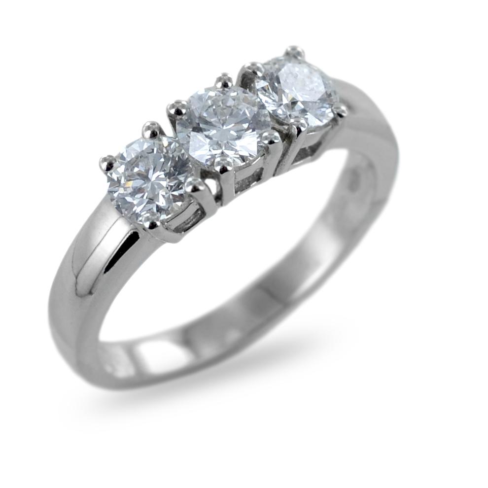 Anello Trilogy in oro e Diamanti carati 1,15 colore E VS Gioielli Valenza