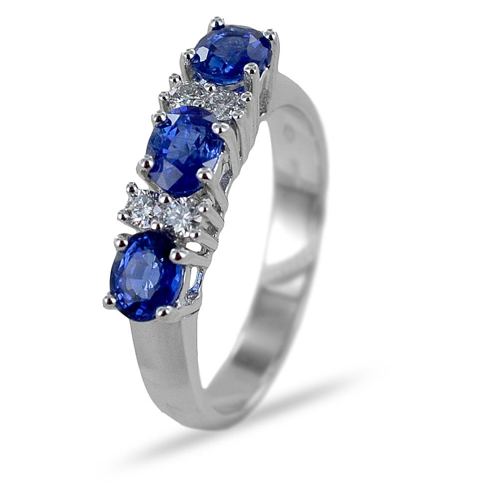 Anello Trilogy Zaffiri e Diamanti alternati Gioielli Valenza