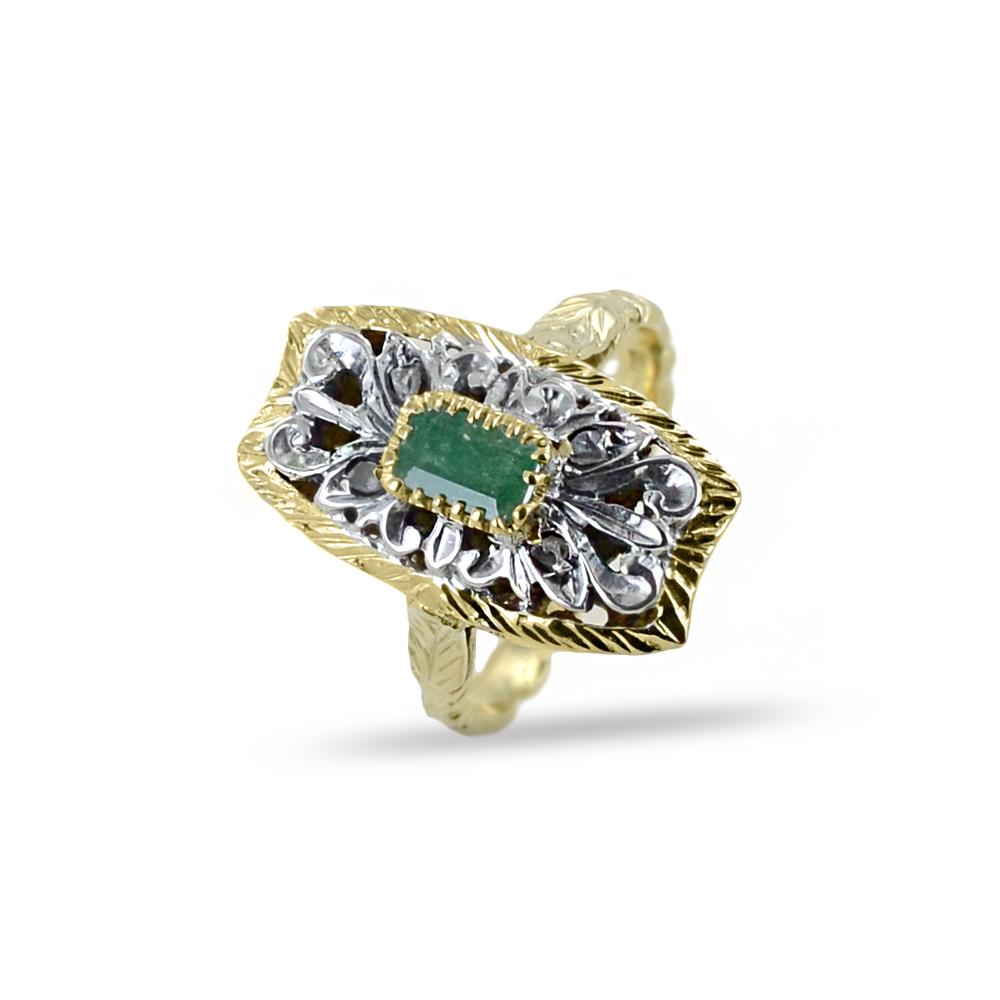 Anello Vintage in oro giallo con Smeraldo e Diamanti