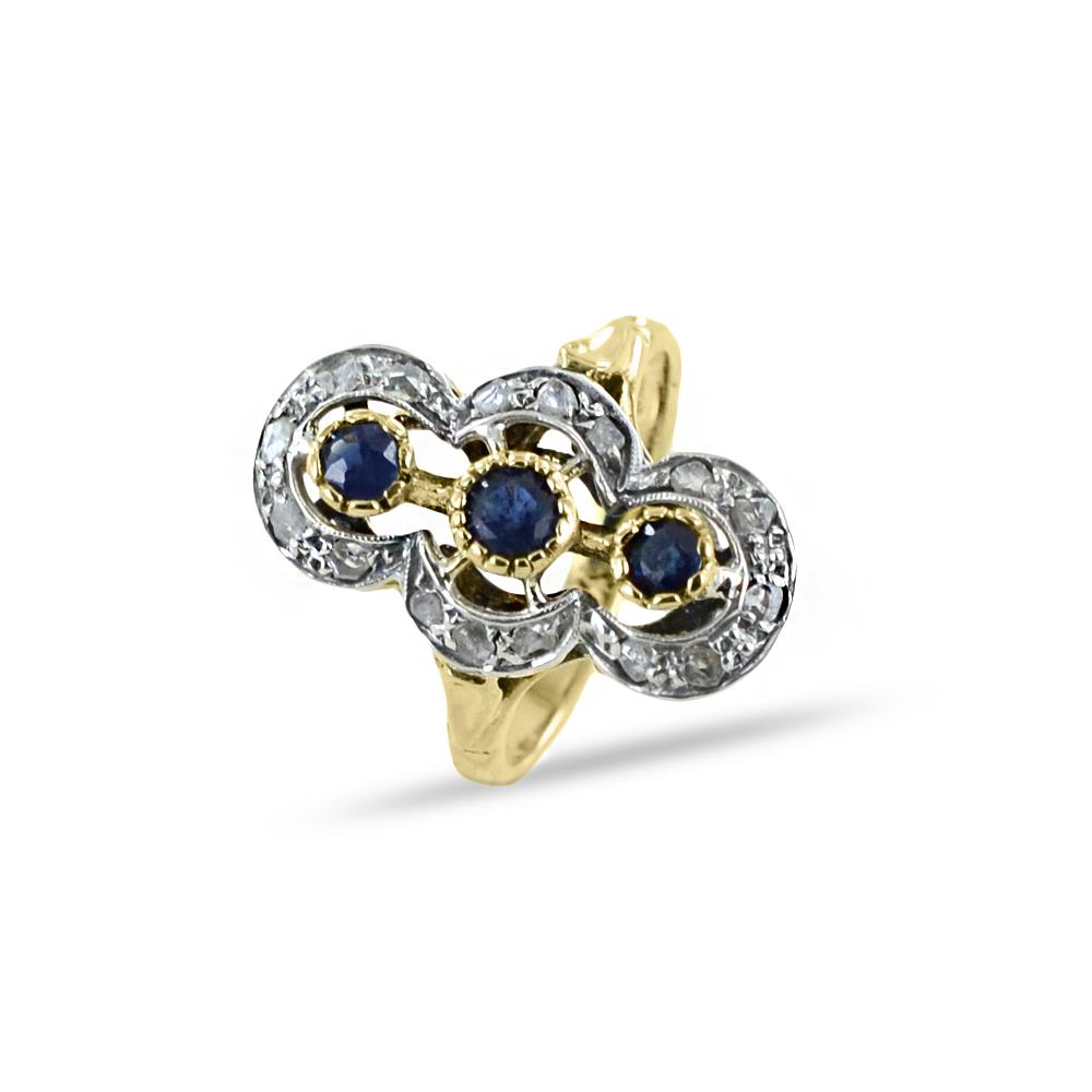 Anello Vintage in oro giallo con Zaffiri e Diamanti