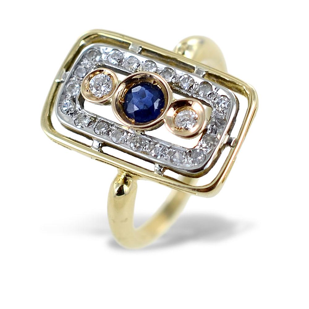 Anello Vintage in oro giallo con Zaffiro e Diamanti
