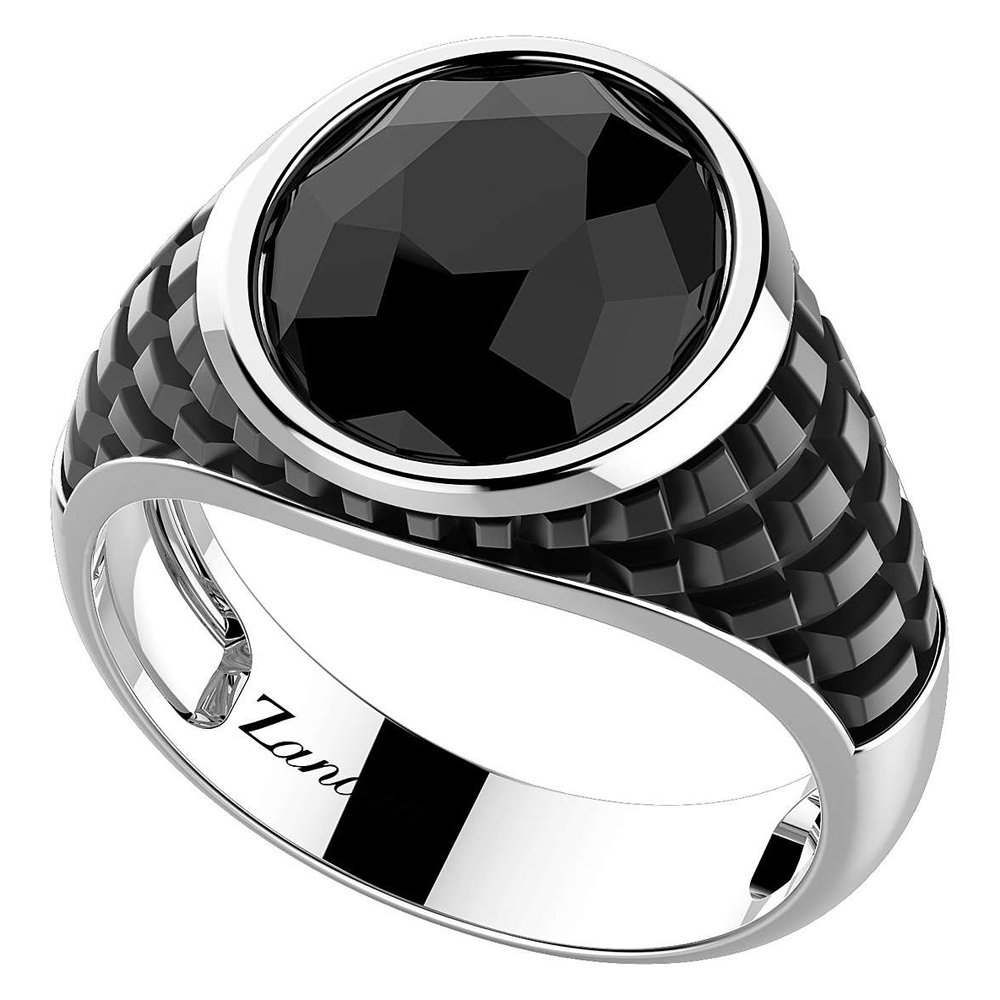 Anello Zancan da uomo in argento con pietra nera Onice EXA215
