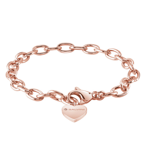 Base bracciale componibili di Salvini in argento rosa con charm cuore 20075269 Charms of Love