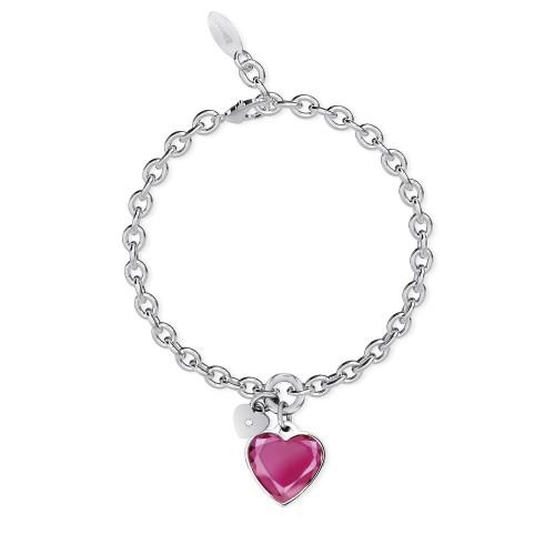 Bracciale 2Jewels con ciondolo cuore rosa collezione True Color 231946
