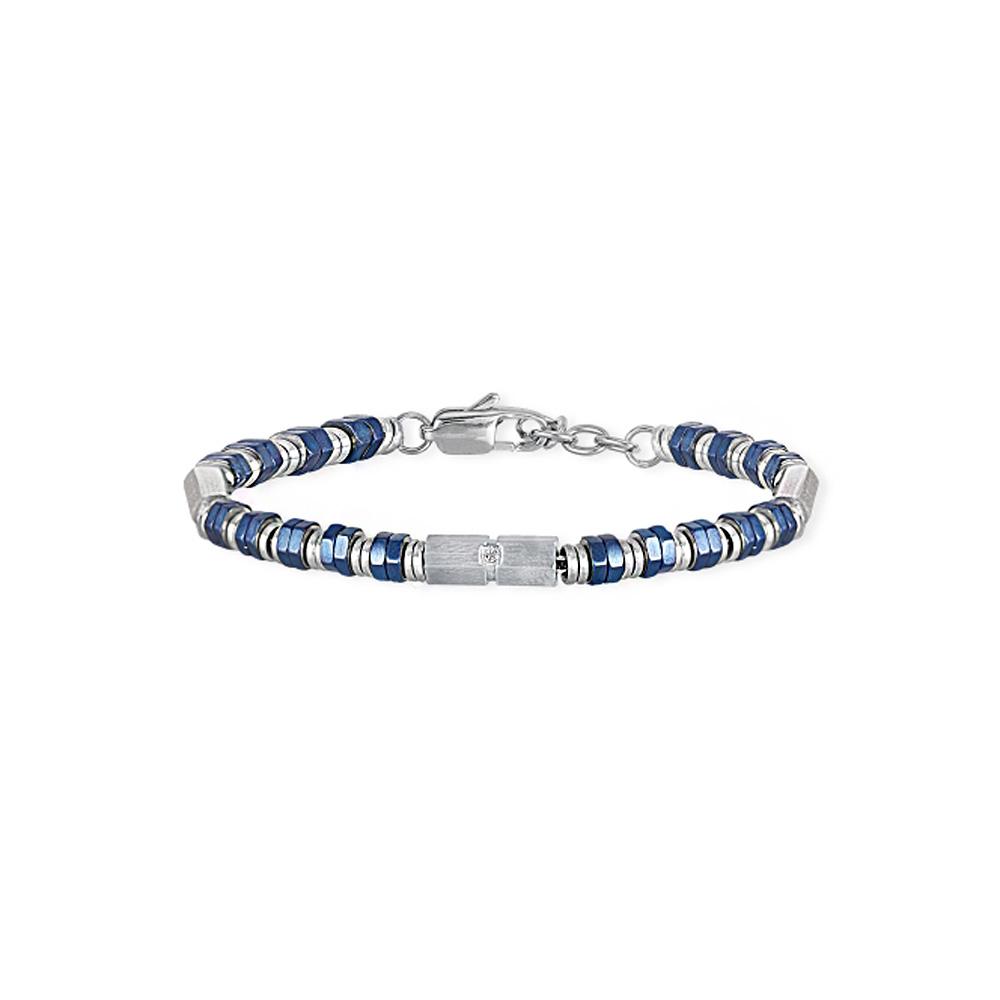 Bracciale 2Jewels Uomo BOLT 2.0 acciaio pvd blu e cristallo bianco 232097