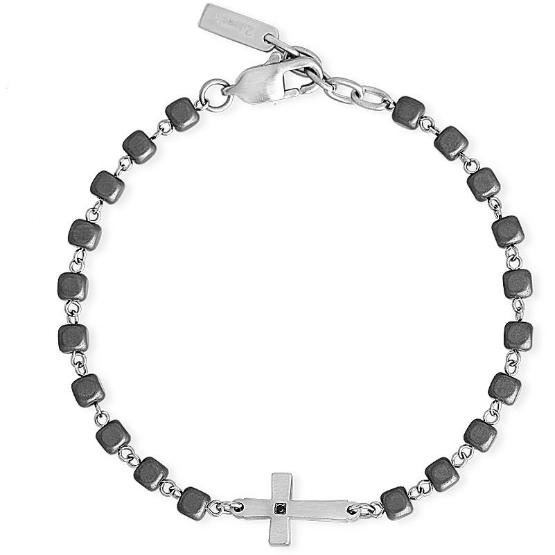 Bracciale 2Jewels Uomo con croce in acciaio e ematite 232103