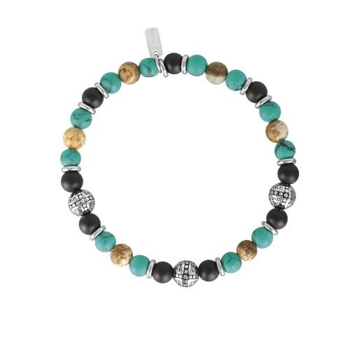Bracciale 2Jewels Uomo Ethno in acciaio perle sfere pietre naturali 232029