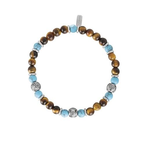 Bracciale 2Jewels Uomo Ethno in acciaio perle sfere pietre naturali 232030