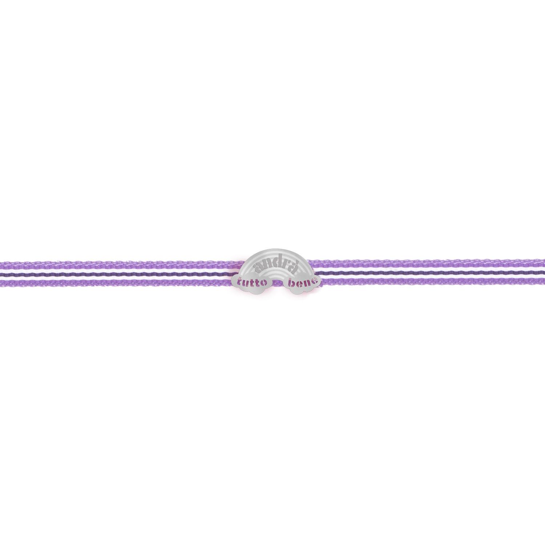 Bracciale arcobaleno Andra tutto bene in argento e tessuto viola