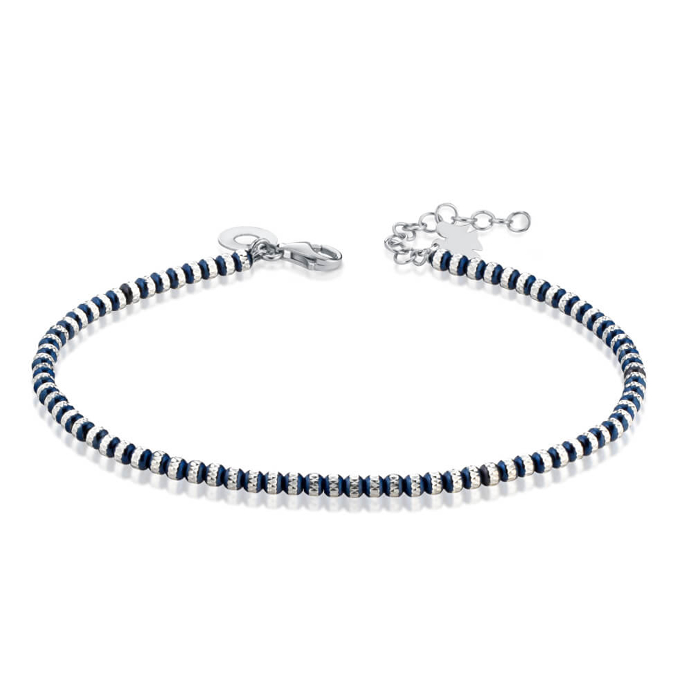Bracciale con Angelo in argento e sfere blu diamantate GIA353