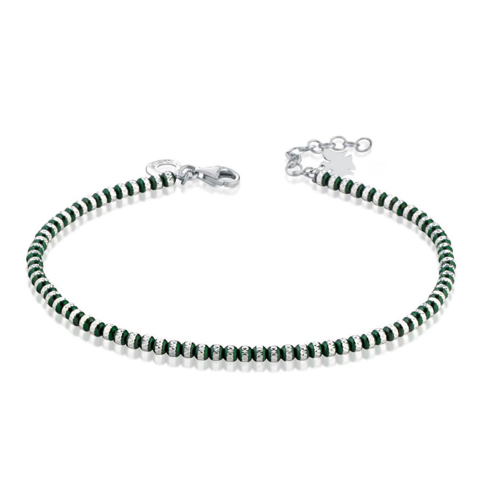 Bracciale con Angelo in argento e sfere Verdi diamantate GIA354