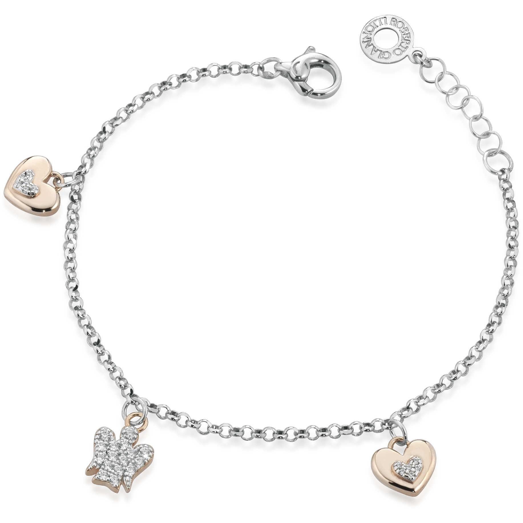 Bracciale con charms Cuori e Angelo in argento con Zirconi GIA333