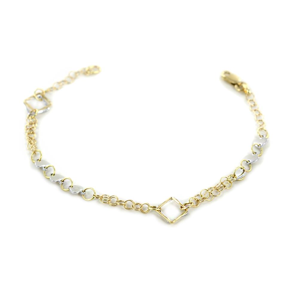 Bracciale con cuori e rettangoli  in oro giallo e bianco