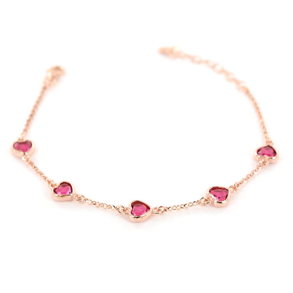 Bracciale con cuori e zirconi a forma di cuore rosa in argento rose AmoreeBaci