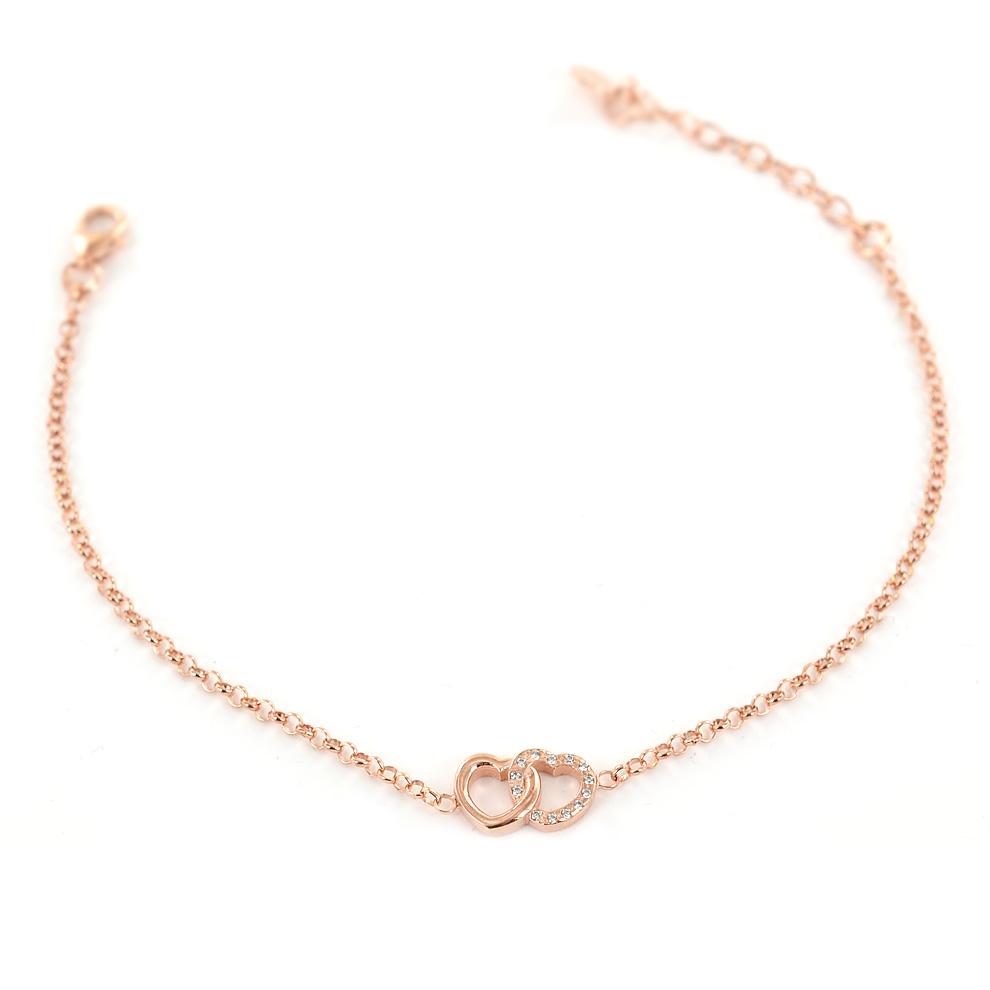 Bracciale con cuori intrecciati in argento rose e Zirconi AmoreeBaci
