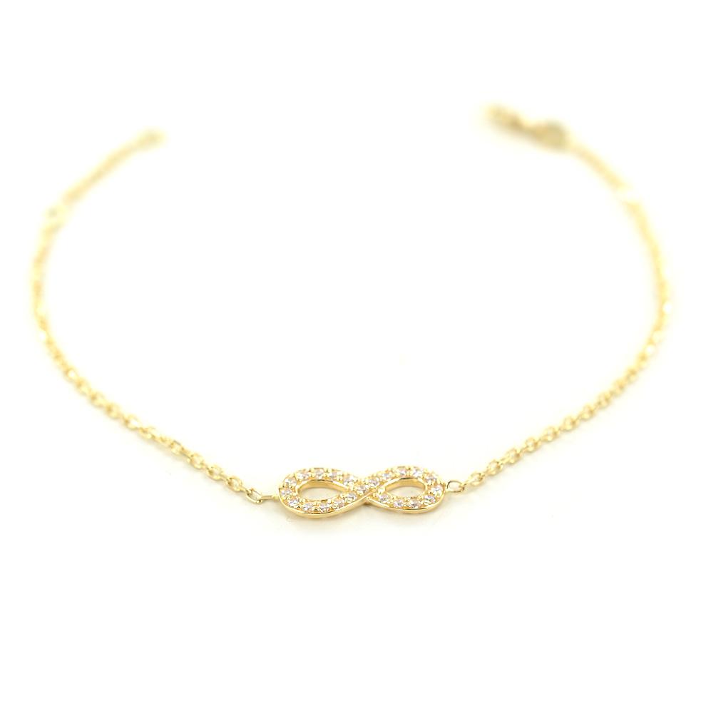 Bracciale con infinito in oro giallo e zirconi - braccialetto infinity