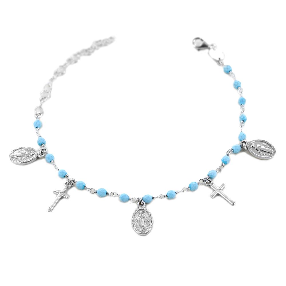 Bracciale con pendenti religiosi Croce e Madonna Miracolosa grani azzurri