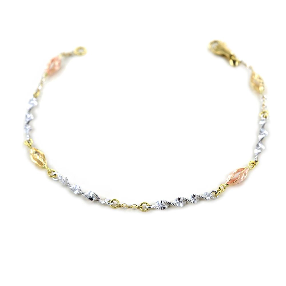 Bracciale con spirali in oro giallo bianco e rosa