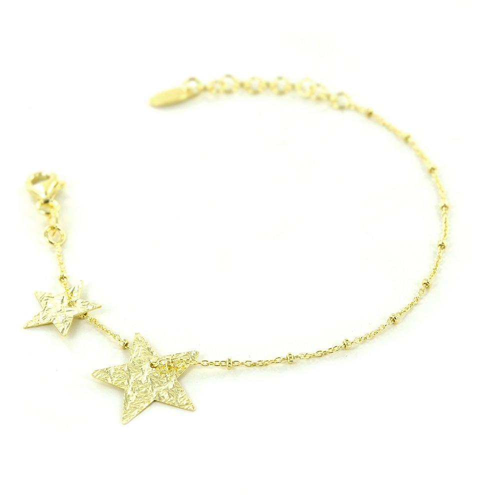 Bracciale con stelle in argento dorato collezione Shiny