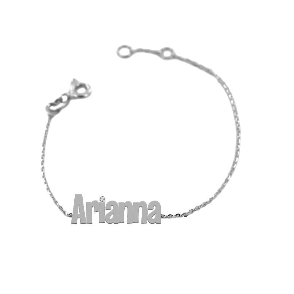 Bracciale da bambino personalizzato con nome in oro bianco e diamante