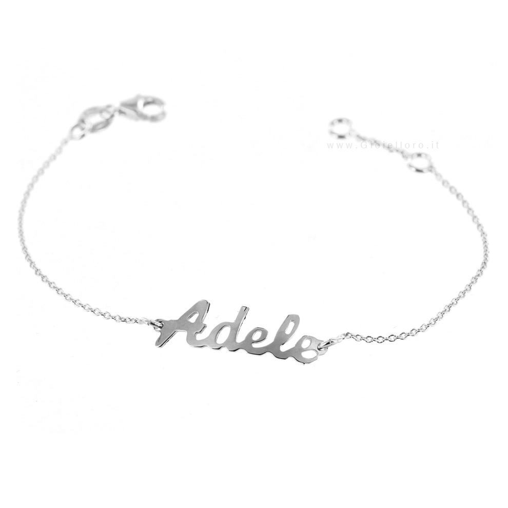 Bracciale da bambino personalizzato con nome in oro bianco