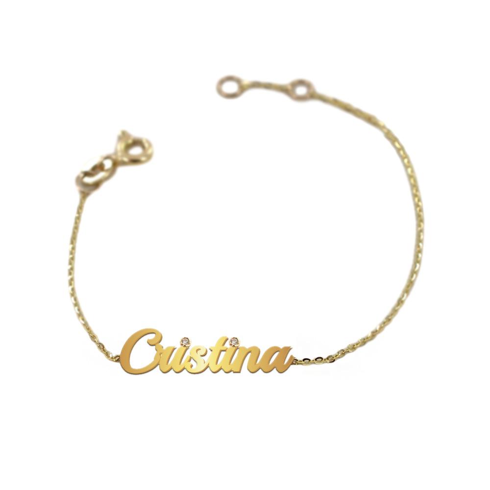 Bracciale da bambino personalizzato con nome in oro giallo e 2 diamanti