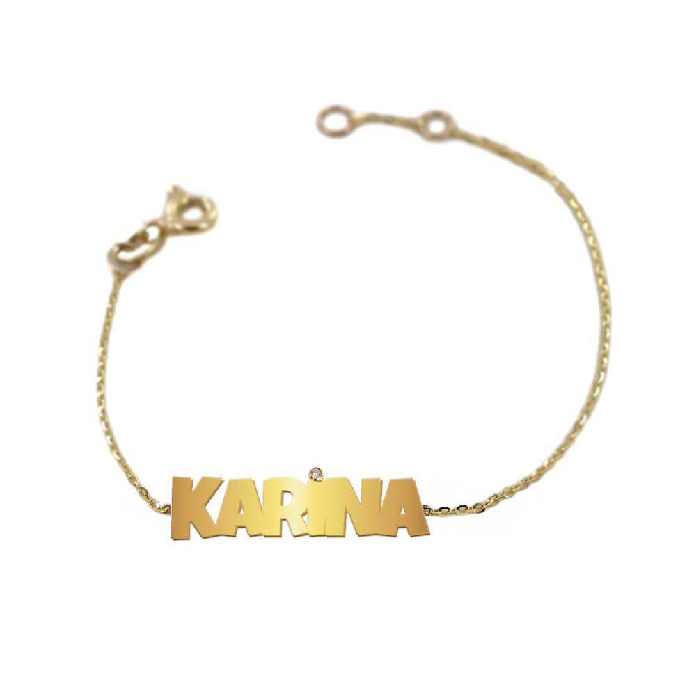 Bracciale da bambino personalizzato con nome in oro giallo e diamante