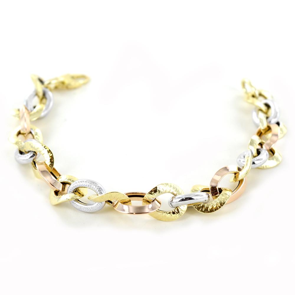 Bracciale da Donna in oro tricolore a anelli intrecciati