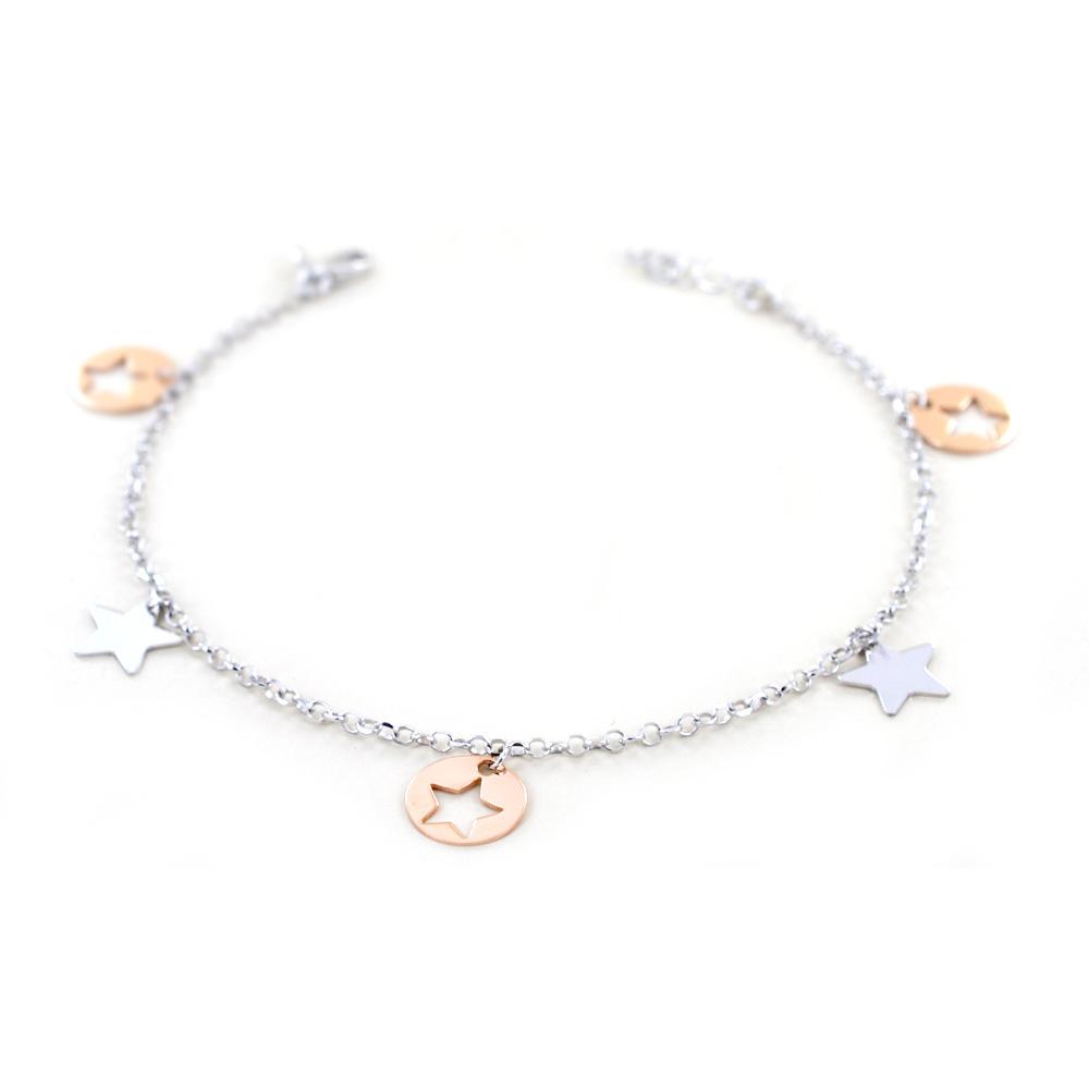Bracciale da ragazza Con stelle in oro bianco e rosa charms