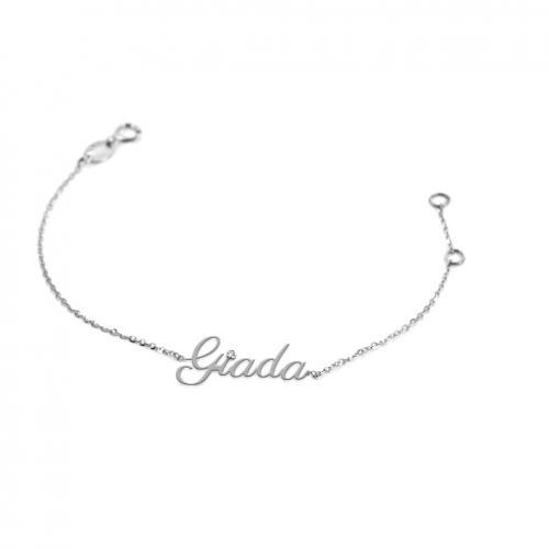 Bracciale da ragazza personalizzato con nome in oro bianco e diamante