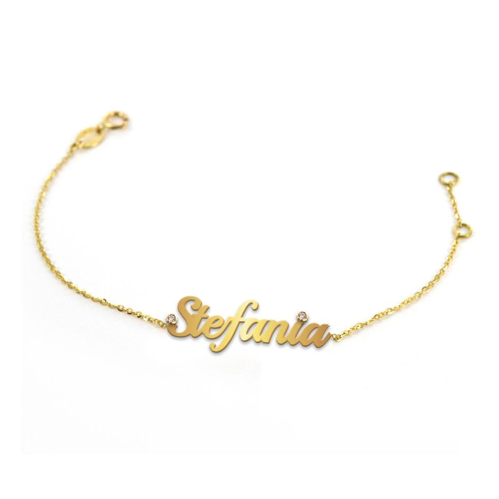 Bracciale da ragazza personalizzato con nome in oro giallo con due diamanti