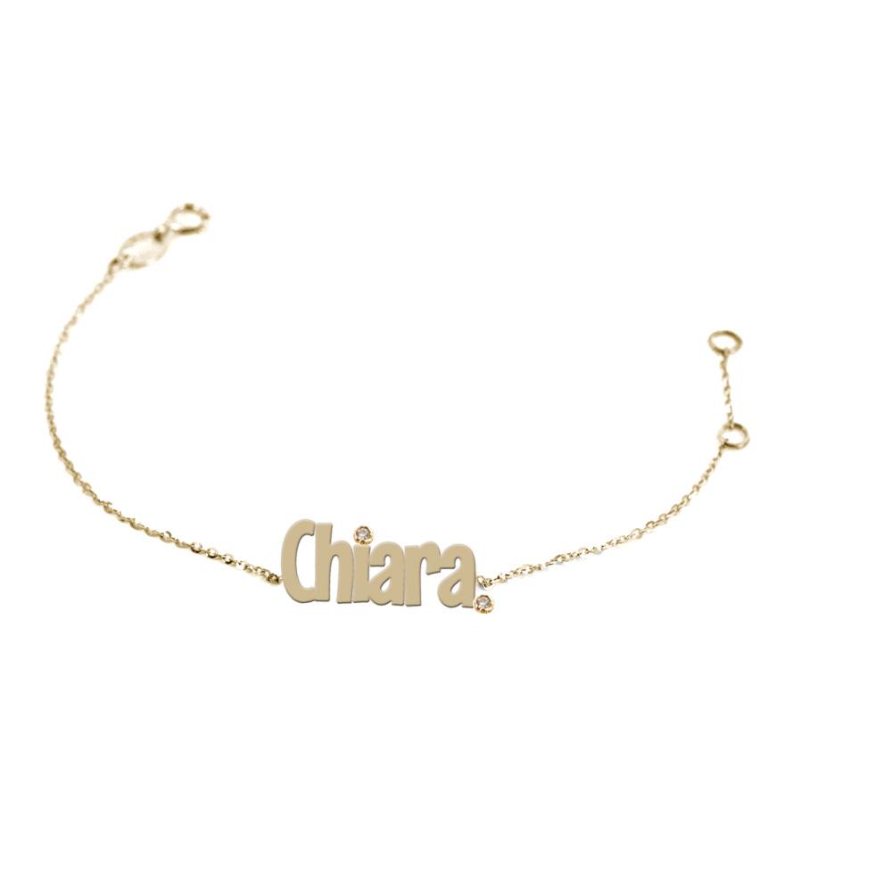 Bracciale da ragazza personalizzato con nome in oro giallo e 2 diamanti