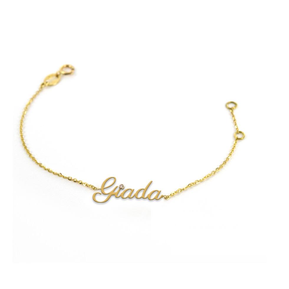 Bracciale da ragazza personalizzato con nome in oro giallo e diamante