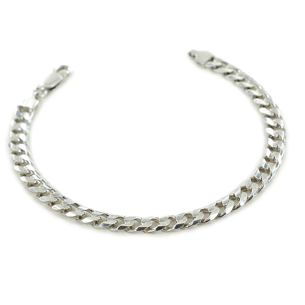 Bracciale da uomo classico in argento maglia groumette squadrata 6 mm