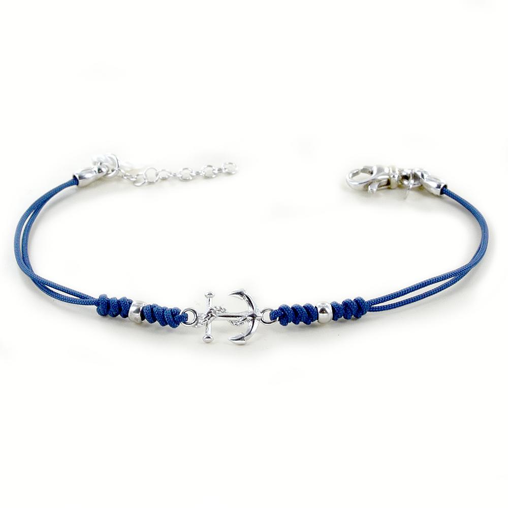 Bracciale da uomo con ancora in argento bracciale tessuto nautico blu