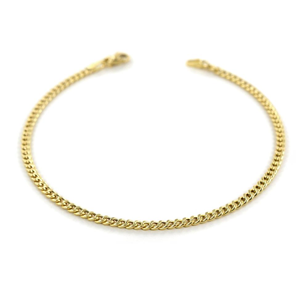Bracciale da uomo in oro giallo a maglia groumette sottile 19 cm